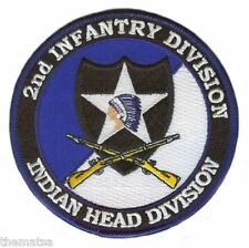"""ARMY 2ND INFANTRY INDIAN HEAD DIVISION CROSSED RIFLES 4"""" EMBROIDERED PATCH"""