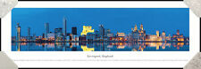 Liverpool, England City Night Skyline Framed Panorama Poster Picture II