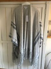 THE WHITE COMPANY Grey Stripe Detail Fringed Cardi Poncho, One Size, BNWT £179