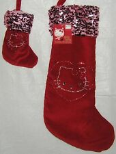 Hello Kitty CHRISTMAS STOCKING SET LARGE MINI PLUSH RED VELVET FREE SHIPPING
