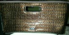 XOXO Embossed Patent Faux Leather Textured Brown Evening Clotch Bag Purse