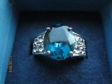 6.35 CTW BAREHIPANI TOPAZ SET IN RHODIUM PLATED 925 STERLING SILVER ~  SZ10 ~