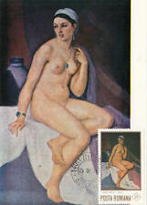 Romania #2256 Nude Painting Maximum Card Ressu Seated Woman 1971