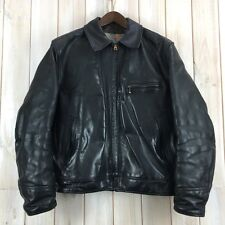 Vintage Aero Highwayman Steerhide Black Leather Motorcycle Biker Jacket 42 Large