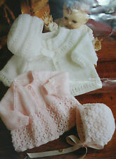 Baby's Matinee Coat/Jacket and Bonnets Knitting Pattern BP110