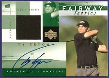 TY TRYON - 2002 02 UD FAIRWAY FABRIC WORN SHIRT & SIGNED AUTO CARD TT-AFF  GREEN