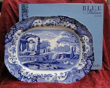 "Spode Italian, Blue Scene, Oval Serving Platter, 14"", NEW w/ Orig Box"