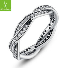 European Silver Cross Rings With White CZ Zircon Jewelry For Women Party Jewelry