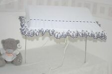 Pram Canopy to fit Silver Cross pram in white&navy