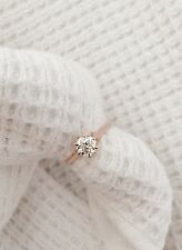 $3650 .80 Carat Old Mine Cut Natural Diamond Engagement Ring Hand 6 Prong 14kt