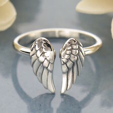 Angel Wing Steampunk Goth Adjustable Sterling Silver Ring UK Size J K L M N O P