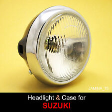 Suzuki GN125 GP125 GS125 GT125 GT185 Headlight 12 V + Steel Bucket Case 6""