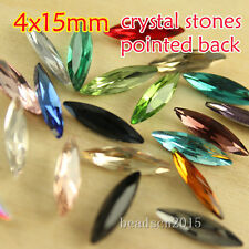 30 4x15mm mixed navette Vintage Rhinestone Faceted Pointed Back Glass Jewels diy