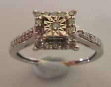 SECONDHAND 9CT WHITE GOLD MULTI DIAMOND SQUARE CLUSTER RING SIZE I.