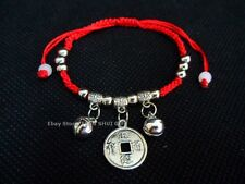 Silver COIN Bead Feng Shui Bangle Jewelry Good Luck Lucky Charm String Bracelet