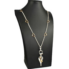 Gorgeous quality silver and gold plated heart charm pendant long length necklace
