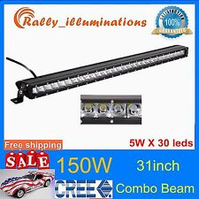 150W Combo 31INCH Single Row CREE LED OFFROAD Light Bar UTE 4X4WD Jeep 6000K /30
