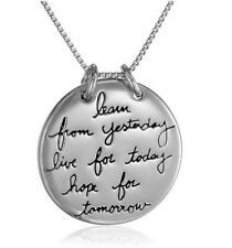 Learn Live Hope Yesterday Today Tomorrow Inspirational Charm Pendant Necklace