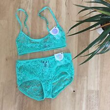Monki Mint Green Underwear Lace Bra and Brief Set  - Size UK XS