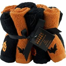 Set of 8 Casaba Halloween Pumpkin Bats Washcloths Orange Black