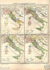 1898= STORIA ITALIA DAL 1000 AL 1866 = Antica MAPPA= OLD MAP