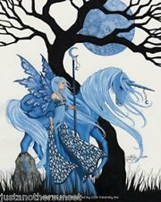 Amy Brown Sticker Decal Fairy Faery Winter Solstice Unicorn Horse Tree Blue Moon