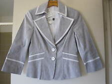 New & Tag - Bebe Career Suiting Corset White Heather Grey Linen Blazer - Size 4