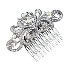 Vintage White Large Size Pearls Hair Decoration Comb Wedding Corsage Prom HA197