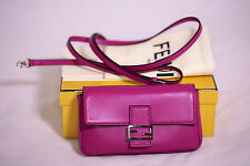 New Fendi Nappa Leather Micro Baguette Crossbody bag Evening Clutch $1.2K