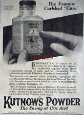 1927 'KUTNOW'S POWDER' Uric Acid Treatment ADVERT #1 - Small Chemist Print Ad