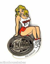 HOOTERS RESTAURANT 20th ANNIVERSARY GIRL ANCHORAGE LAPEL BADGE PIN