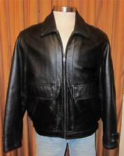 WILSONS Black Full Zip Genuine Leather Bomber Flight Jacket Coat Men's Medium