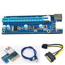 USB3.0 PCI-E Express 1x to 16x Extender Riser Card Adapter 6Pin SATA Power Cable