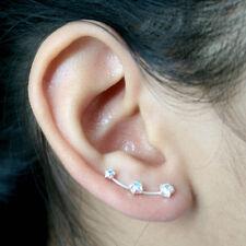 925 Sterling Silver Cubic Zirconia Star Ear Sweep ear Climber Earrings