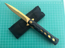 New Assisted Opening Golden Folding Pocket Knife With Pouch  Survival Saber Tool