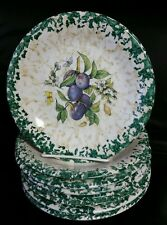 """6 Vintage HIMARK Spongeware Fruit Themed 7 3/4"""" Salad Plates Made in Italy"""