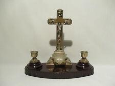 ANCIEN AUTEL RELIGIEUX BENITIER CROIX BOUGEOIRS CHRISTIANISME
