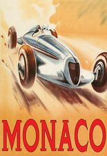 Vintage Racing Car - Monaco Deco Grand Prix A3 Art Poster Print