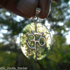 AA++ HIMALAYAN MOSS AGATE CRYSTAL OM SILVER PENDANT. FOR WEALTH & RELATIONSHIP.