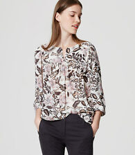 Ann Taylor Loft Woodblock Floral Split Neck Blouse Top S NWT