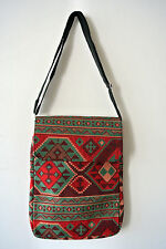 Kilim Carpet Patterned Cross Body Messenger Shoulder Bag Tribal Bohemian Ethnic