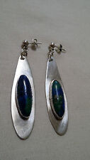 Vintage Hand Crafted 925/Dangle Pierced Earrings/Blue GreenStone Inset