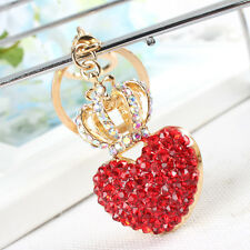 Crown Red Heart Keyring Cute Accessorie Crystal Charm Pendant Key Bag Chain Gift