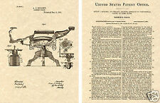 KOCHS BARBER CHAIR US PATENT Art Print READY TO FRAME!!!!! 1891 Hair cut shave