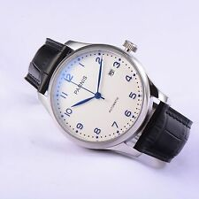 New 43mm Parnis Portuguese White Dial Blue Mark Automatic Movement Wrist Watch
