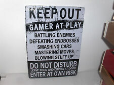 Do Not Disturb-Gamer At Play-Enter At Own Risk-Food At Door`Games Metal Sign