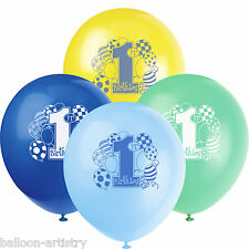 Unique Boy's Blue 1st Birthday 8 Printed Balloons