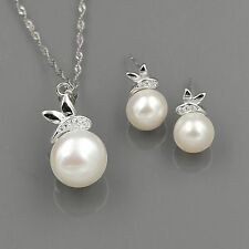 Freshwater Pearl Sterling Silver CZ Pendant Necklace Earrings Jewelry Set 00370