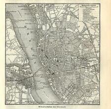 Carta geografica antica LIVERPOOL pianta della città 1890 Old antique map