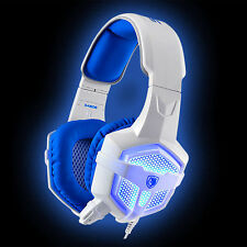 SADES sa-806 Blu Bianco 3.5 mm USB LED LIGHT Gaming Cuffie Cuffie con microfono